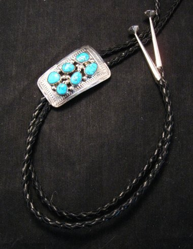 Image 1 of Navajo 6 Turquoise Stone Sterling Silver Bolo, Wilbert Meyers