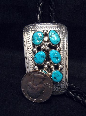 Image 2 of Navajo 6 Turquoise Stone Sterling Silver Bolo, Wilbert Meyers