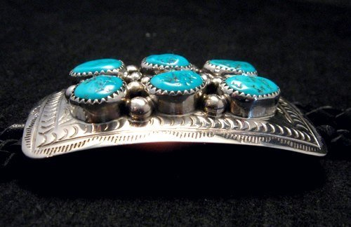 Image 4 of Navajo 6 Turquoise Stone Sterling Silver Bolo, Wilbert Meyers