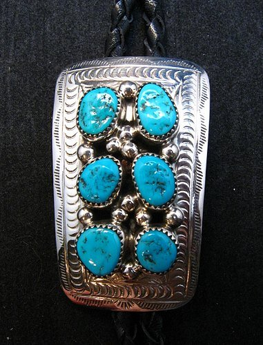 Image 6 of Navajo 6 Turquoise Stone Sterling Silver Bolo, Wilbert Meyers