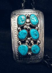 Navajo 6 Turquoise Stone Sterling Silver Bolo, Wilbert Meyers