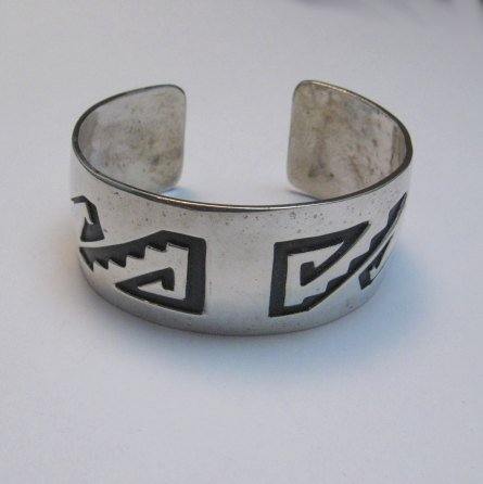 Image 1 of Vintage Native American Sterling silver Overlay Bracelet, William Douglas