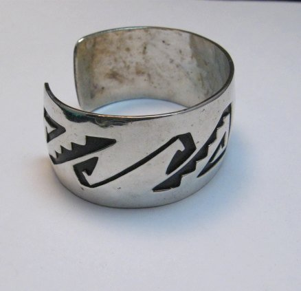Image 2 of Vintage Native American Sterling silver Overlay Bracelet, William Douglas
