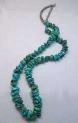 Vintage Southwestern Turquoise Nugget Necklace 29'' long