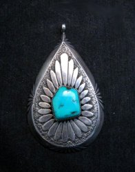 Big Vintage Pawn Navajo Native American Turquoise Silver Pendant, Eddy Chaco