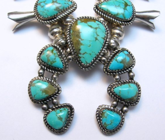 Image 1 of Vintage Native American Turquoise Silver Squash Blossom Necklace & Earrings