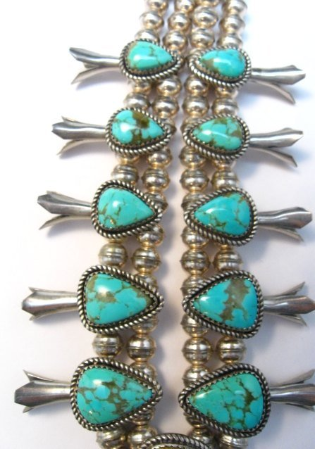 Image 2 of Vintage Native American Turquoise Silver Squash Blossom Necklace & Earrings