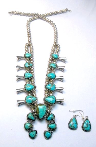 Image 0 of Vintage Native American Turquoise Silver Squash Blossom Necklace & Earrings