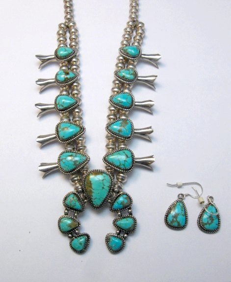 Image 3 of Vintage Native American Turquoise Silver Squash Blossom Necklace & Earrings