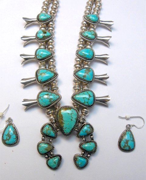Image 4 of Vintage Native American Turquoise Silver Squash Blossom Necklace & Earrings