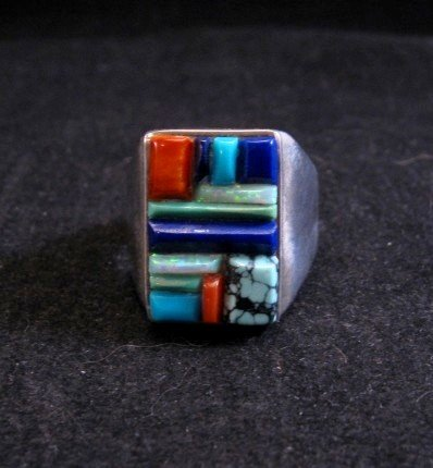 Image 0 of Navajo Multistone Cobblestone Sterling Silver Ring sz11-3/4, Calvin Begay
