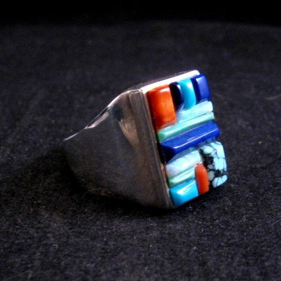 Image 1 of Navajo Multistone Cobblestone Sterling Silver Ring sz11-3/4, Calvin Begay