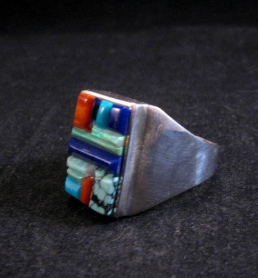 Image 2 of Navajo Multistone Cobblestone Sterling Silver Ring sz11-3/4, Calvin Begay