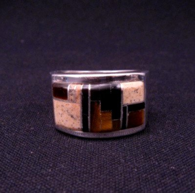 Image 0 of Navajo Multistone Inlaid Sterling Silver Ring sz12, Calvin Begay