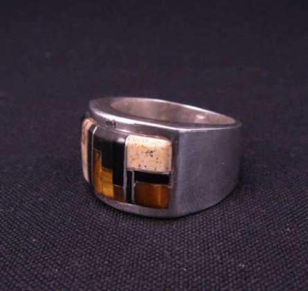 Image 1 of Navajo Multistone Inlaid Sterling Silver Ring sz12, Calvin Begay