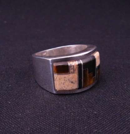 Image 2 of Navajo Multistone Inlaid Sterling Silver Ring sz12, Calvin Begay