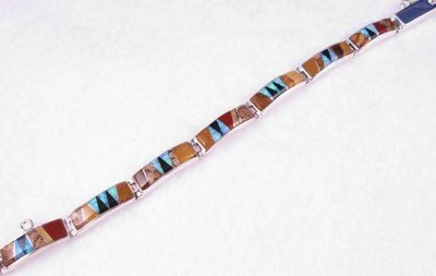 Image 0 of Navajo Multi Gem Inlaid Link Bracelet, Calvin Begay