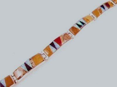Image 2 of Navajo Multi Gem Inlaid Link Bracelet, Calvin Begay