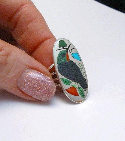 Image 0 of Zuni Indian Inlaid Hummingbird Ring sz8-1/4, Harlan Coonsis
