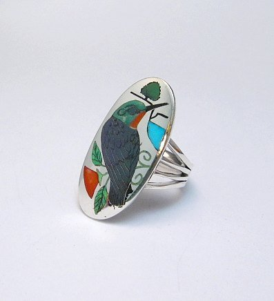 Image 1 of Zuni Indian Inlaid Hummingbird Ring sz8-1/4, Harlan Coonsis