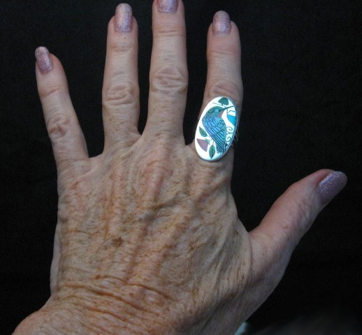Image 2 of Zuni Indian Inlaid Hummingbird Ring sz8-1/4, Harlan Coonsis
