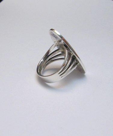 Image 3 of Zuni Indian Inlaid Hummingbird Ring sz8-1/4, Harlan Coonsis