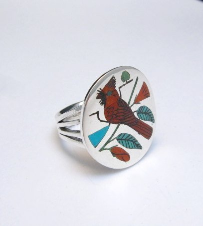 Image 0 of Zuni Native American Jewelry Inlaid Cardinal Ring sz8-1/4, Harlan Coonsis