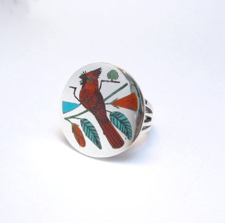 Image 1 of Zuni Native American Jewelry Inlaid Cardinal Ring sz8-1/4, Harlan Coonsis