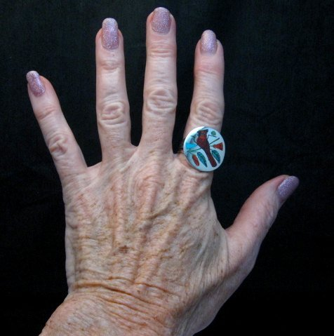Image 2 of Zuni Native American Jewelry Inlaid Cardinal Ring sz8-1/4, Harlan Coonsis