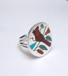 Zuni Native American Jewelry Inlaid Cardinal Ring sz8-1/4, Harlan Coonsis