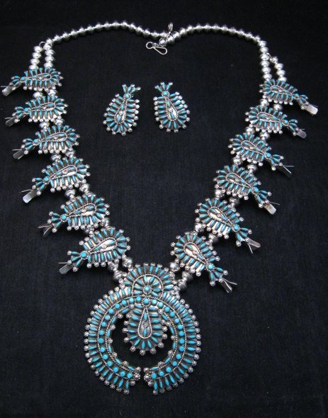 Image 2 of Zuni Turquoise Needlepoint Squash Blossom Necklace Earrings Set, D&M Chavez