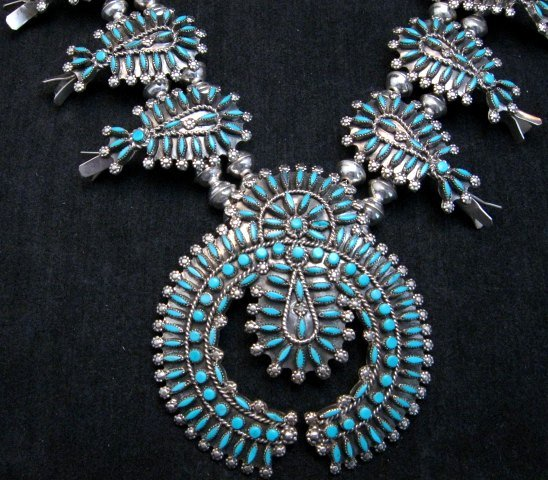 Image 1 of Zuni Turquoise Needlepoint Squash Blossom Necklace Earrings Set, D&M Chavez