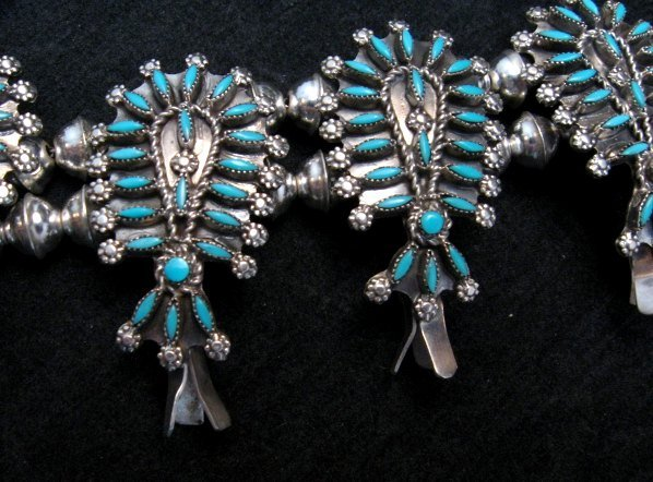 Image 3 of Zuni Turquoise Needlepoint Squash Blossom Necklace Earrings Set, D&M Chavez