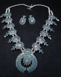 Zuni Turquoise Needlepoint Squash Blossom Necklace Earrings Set, D&M Chavez