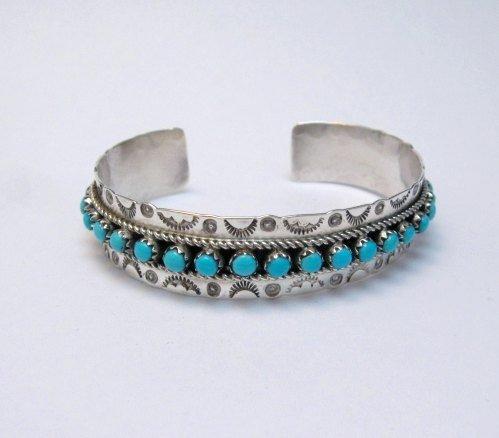 Image 0 of Zuni Pearl Ukestine Turquoise Snake Eye Etched Cuff Bracelet