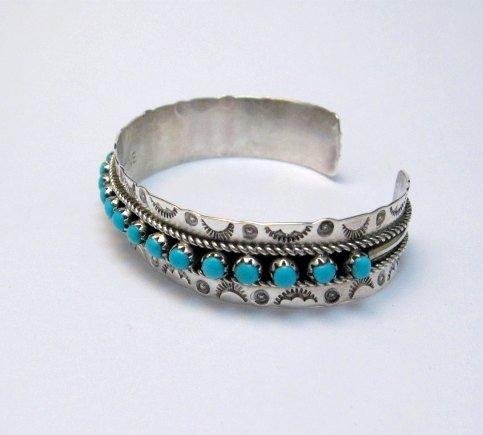 Image 1 of Zuni Pearl Ukestine Turquoise Snake Eye Etched Cuff Bracelet