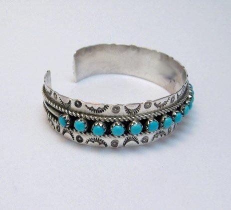 Image 2 of Zuni Pearl Ukestine Turquoise Snake Eye Etched Cuff Bracelet