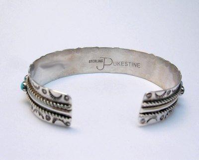 Image 3 of Zuni Pearl Ukestine Turquoise Snake Eye Etched Cuff Bracelet