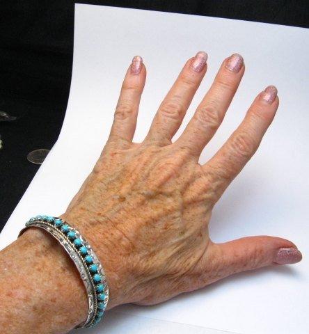 Image 4 of Zuni Pearl Ukestine Turquoise Snake Eye Etched Cuff Bracelet