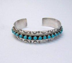 Zuni Pearl Ukestine Turquoise Snake Eye Etched Cuff Bracelet
