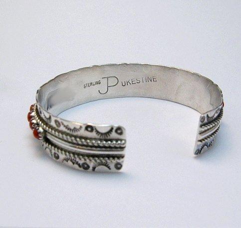Image 3 of Zuni Native American Coral Snake Eye Cuff Bracelet, Pearl Ukestine