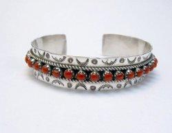 Zuni Native American Coral Snake Eye Cuff Bracelet, Pearl Ukestine