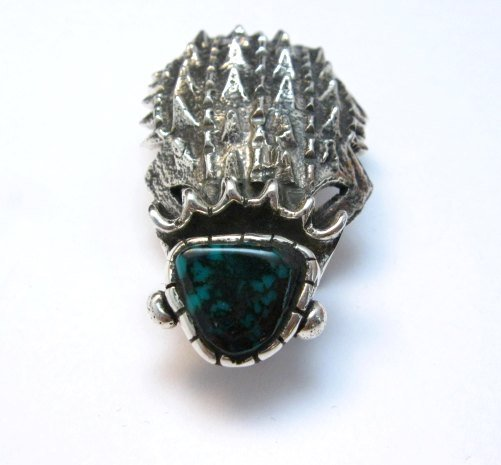 Image 2 of Philander Begay Navajo Horned Toad Turquoise Silver Pendant