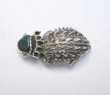 Image 3 of Philander Begay Navajo Horned Toad Turquoise Silver Pendant