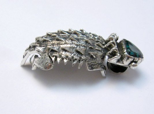 Image 1 of Philander Begay Navajo Horned Toad Turquoise Silver Pendant