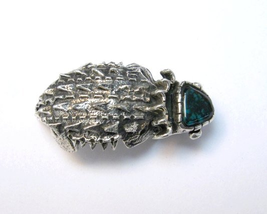Image 0 of Philander Begay Navajo Horned Toad Turquoise Silver Pendant
