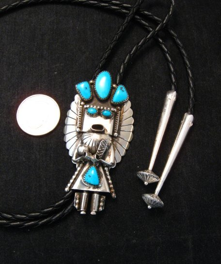 Image 1 of Big Navajo Turquoise Silver Kachina Bolo - Doris Smallcanyon