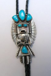 Big Navajo Turquoise Silver Kachina Bolo - Doris Smallcanyon