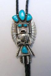 Big Navajo Turquoise Silver Kachina Bolo - Doris Smallcanyon