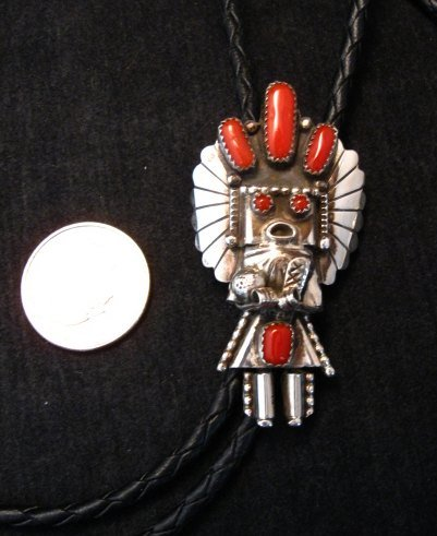 Image 1 of Navajo Native American Jewelry Coral Silver Kachina Bolo, Doris Smallcanyon